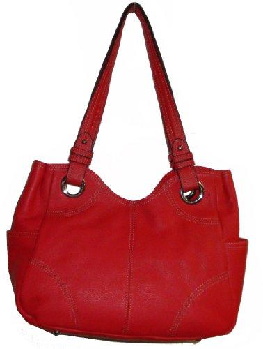 Tignanello Women's Pebble Leather Shopper Handbag, Tomato