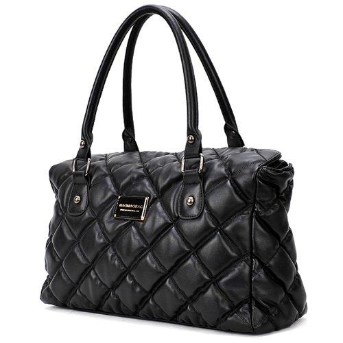 GIOVANNA Black Diamond Quilted Doctor Style Satchel Office Tote Handbag Purse