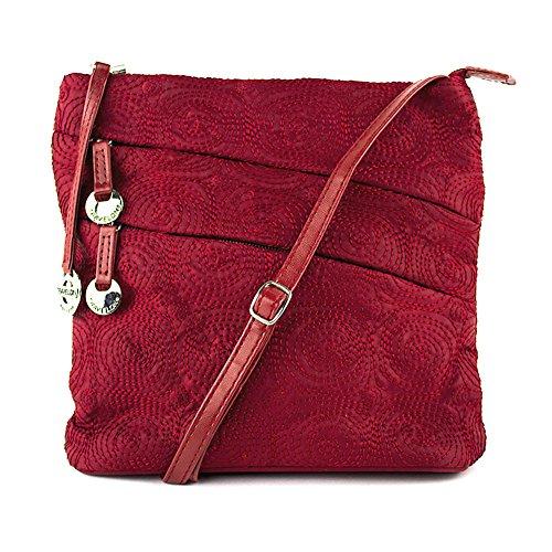 Travelon Embroidered Shoulder Bag, Dark Red