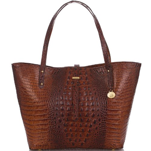 NEW AUTHENTIC BRAHMIN ALL DAY LARGE CARRYALL TRAVEL TOTE (Pecan Melbourne)
