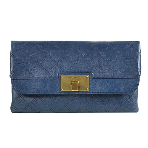 Marc Jacobs Jean Leather Quilted Flap Clutch Atlantic With Antique Gold