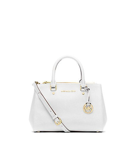 Michael Kors Sutton Small Satchel in Optic White