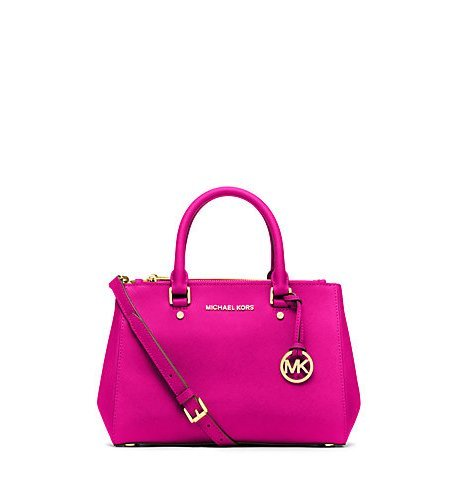 Michael Kors Sutton Small Saffiano Leather Satchel in Raspberry