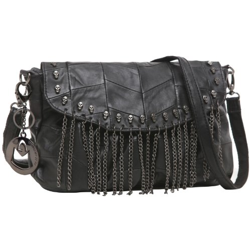 MG Collection MIA Black Leather Gothic Skull Studs Chains Crossbody Handbag