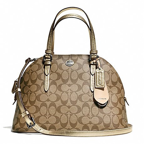 Coach Peyton Signature Cora Domed Satchel in Khaki & Gold – Style 24606