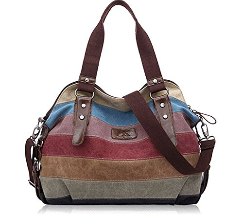 KISS GOLD(TM) Fashion Multi-Color Canvas Tote Hobo Shopper Handbag Shoulder Bag(Multi-Color)