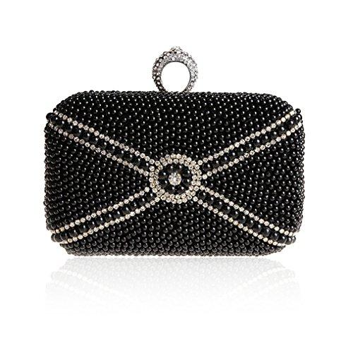 TopTie Unique Pearl Diamond Clutches Rhinestone Ring Evening Handbag