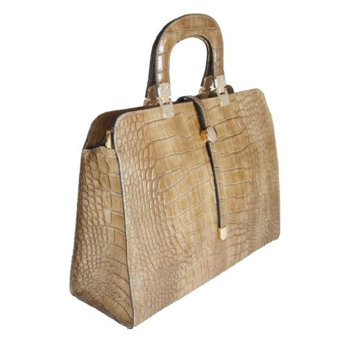 HS 5182 TP SERENA Made in Italy Leather Taupe Structured Croc Embossed Handbag