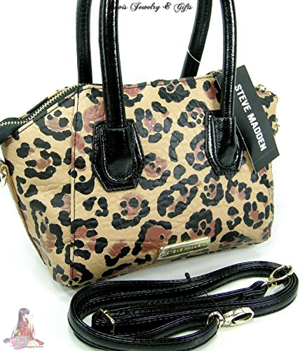 Steve Madden Purse Satchel Crossbody Mini Hand Bag Leopard Animal Print