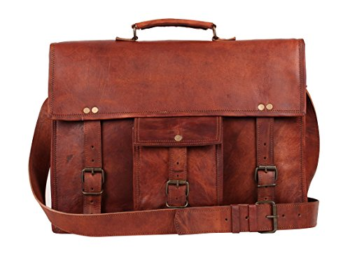 Vintage Leather Messenger Bag 18″ Leather Briefcase Eco-friendly By RusticTown