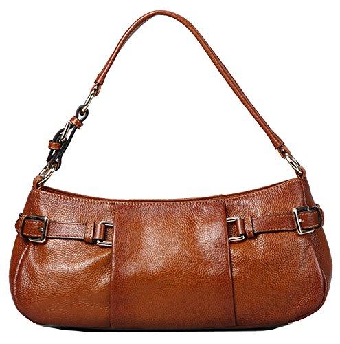 Heshe Luxury Cowhide Top Layer Soft Leather Top-handle Shoulder Messenger Bag Handbag