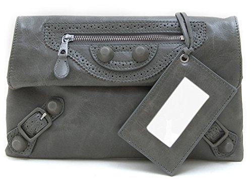 Lush Leather Perforated Envelope Biker Clutch
