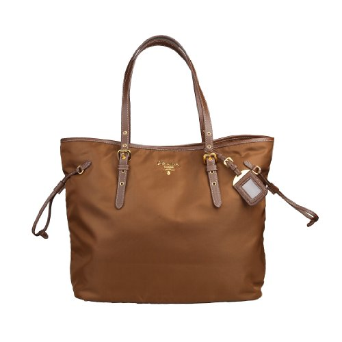 Prada Women's Tote Tessuto Bag Nylon Leather in Brown Shopping Bag Style