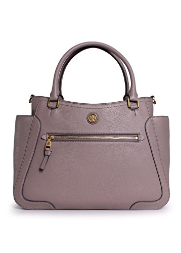 Tory Burch Frances Leather Satchel in French Gray
