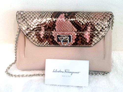 Salvatore Ferragamo Mini Bag – Pink Python Leather Silver Chain New