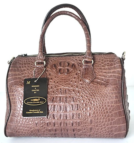 +ThaiPremiumHouse+DOUBLE HORNBACKs SKIN GENUINE CROCODILE LEATHER HANDBAG CLUTCH BAG PURSE SHINY DARK BROWN W/Strap