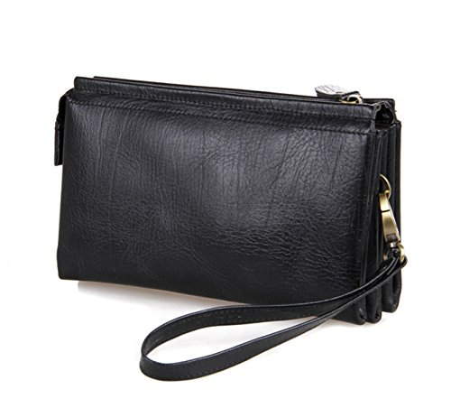 Fenarzo Unisex Leather Clutch Wallet Business Travel Purse Card Phone Handbag