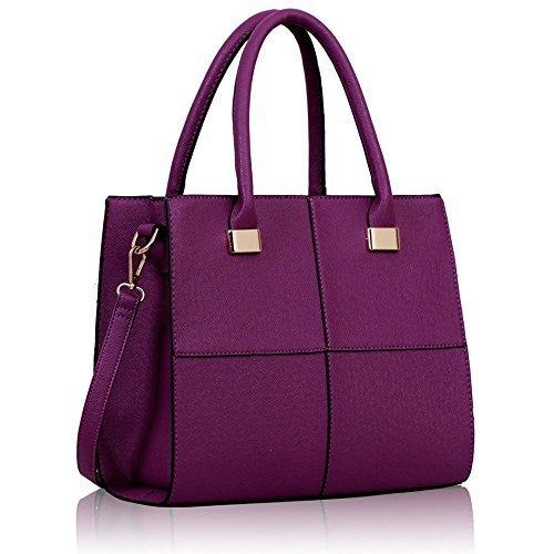 KCMODE Ladies Designer Metallic Detail Purple Vintage Squares Womens Tote Bag Handbag