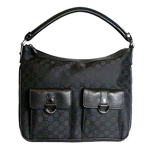 Gucci Women's Abbey Nylon Gg Guccissima Leather Tote Bag in Black