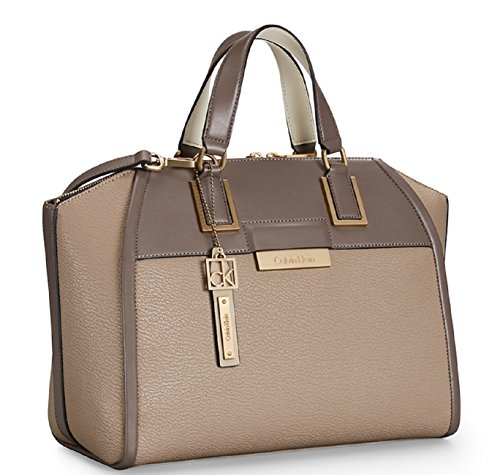 Calvin Klein Valerie Textured Dome Satchel Bag Handbag (Mink)