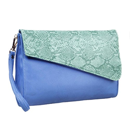 BMC Womens Two-Tone PU Leather Faux Snakeskin Flap Cover Wristlet Clutch Handbag