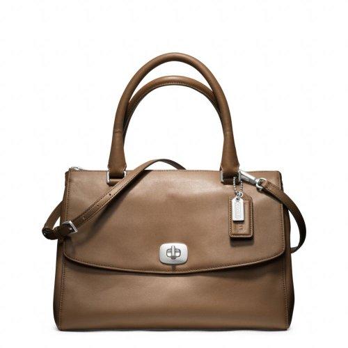 Coach Leather Pinnacle Harper Convertible Satchel Bag 23562 Fawn Tan