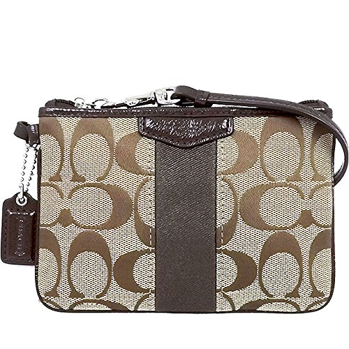 Coach Signature C Stripe Khaki Jacquard Mahogany Leather Wristlet, 51158
