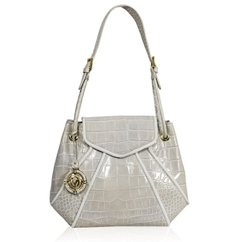 Valentino Orlandi Italian Designer Grey Croc Leather Large Purse Bag