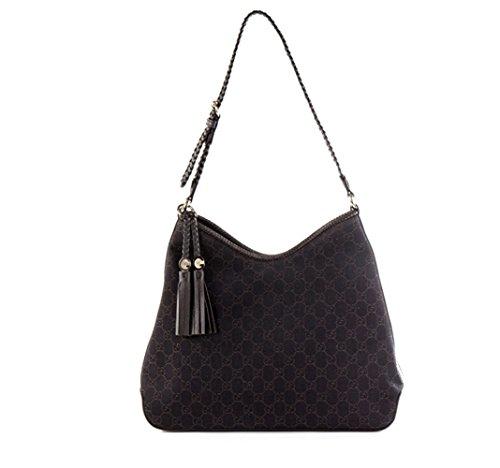 Gucci Marrakech Brown Leather and Canvas Medium Shoulder Bag Handbag with Tassel Detail