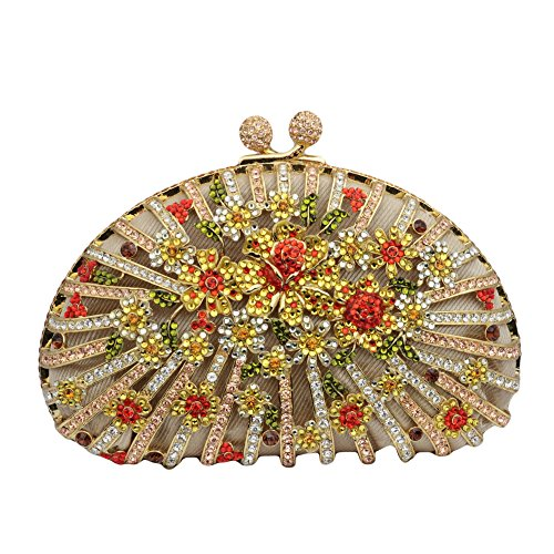 Floral Clutch with Crystalized Swarovki Elements