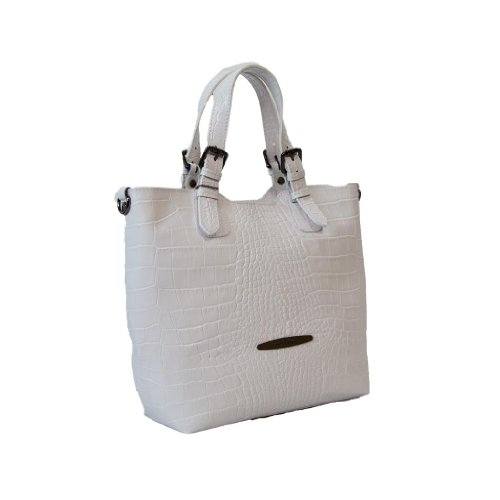 Pierre Cardin PC 1310 BIANCO Made in Italy Leather White Satchel/Shoulder Bag
