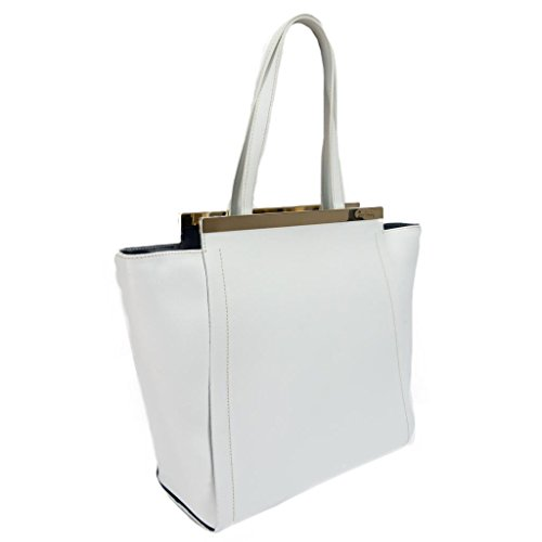 Pierre Cardin 4075 BIANCO Made in Italy White Leather Structured Satchel