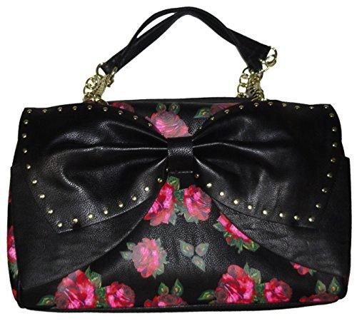 Betsey Johnson Women's Large Bow Regard Satchel Handbag, Black Floral
