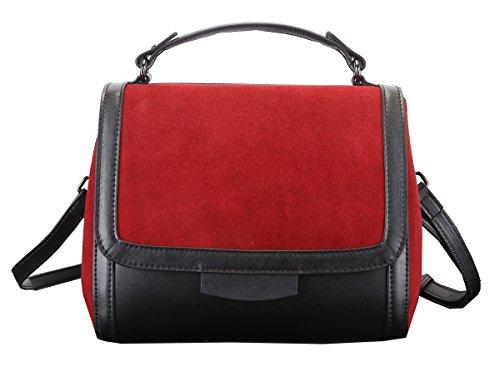 Heshe 100% Genuine Leather Lady's Simple Style Fashion Tote Top Handle Shoulder Crossbody Bag Satchel Purse Handbag for Women