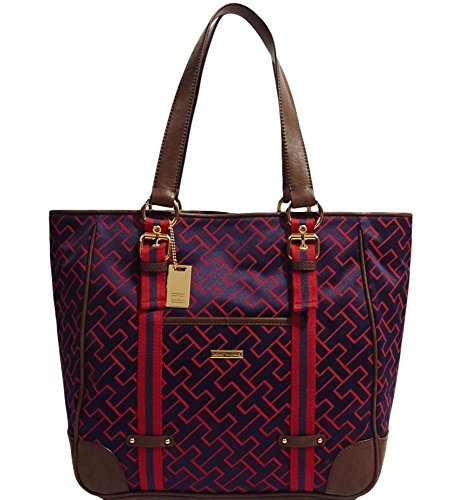 Tommy Hilfiger Logo Large Tote Bag Handbag Purse (Navy Blue / Burgundy))
