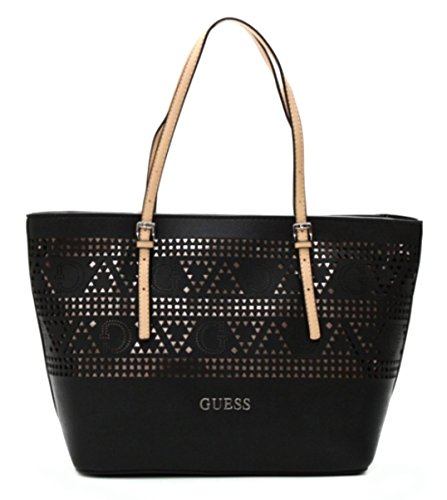 GUESS Delaney Laser-Cut Classic Tote Bag, Black