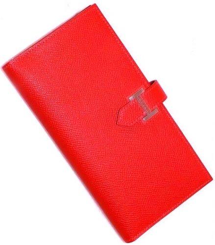 Hermès Bèarn Wallet Rouge Casaque (Red) Leather Palladium Hardware