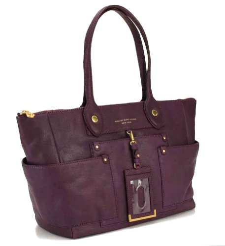 Marc by Marc Jacobs Preppy Leather E/W Hayley Tote, Dark Magenta