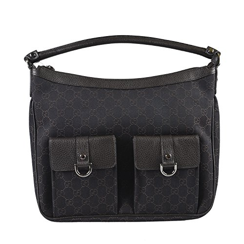 Gucci Women's Brown Canvas Leather Trimmed Guccissima Print Shoulder Bag