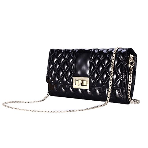 Fineplus Split Cow Patent Leather Diamond Metal Buckle Chain Purses For Girl Black