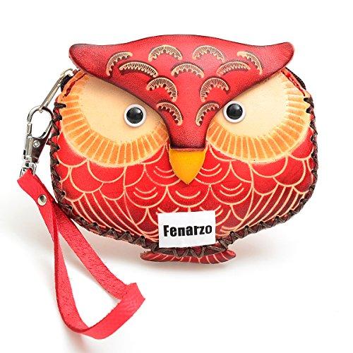 Fenarzo Handmade Genuine Leather Owl Wristlet Coin Purse