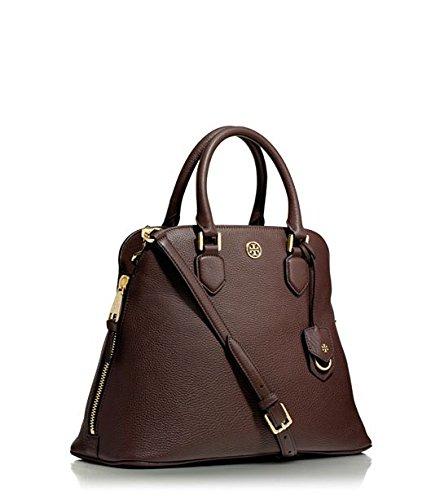 Tory Burch Satchel Handbag Pebbled Leather Robinson Dark Walnut Brown