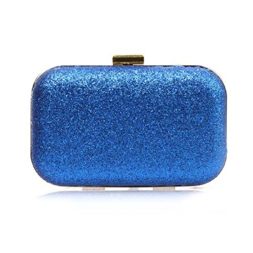 BMC Glitter Covered Fabric Hard Case Alloy Chain Strap Fashion Handbag Clutch