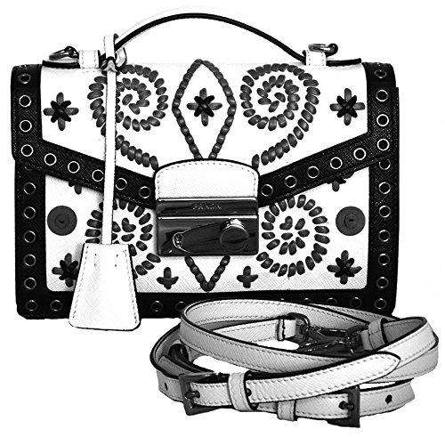 Prada Designer Handbag BT960E Saffiano Bianco+Marmo Cross Body Leather Bag