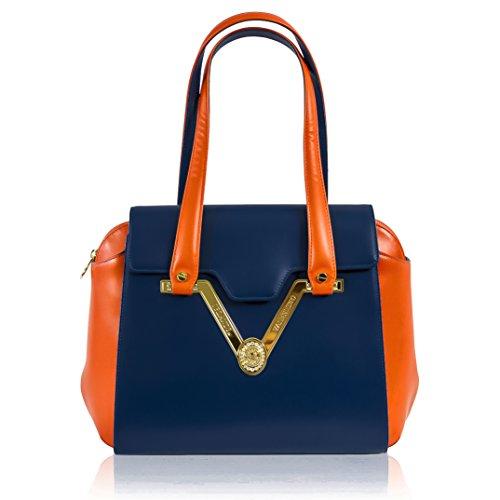 Valentino Orlandi Italian Designer Blue/Red Nappa Leather Gilded Purse Satchel Bag