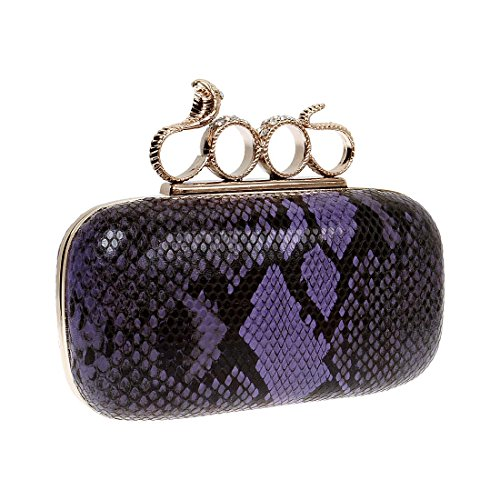 BMC Womens Faux Snakeskin 4 Ring Snake Charm Knuckle Duster Hard Case Clutch