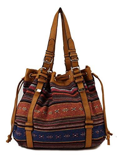 Scarleton Striped Pattern Jacquard Drawstring Bag H1567