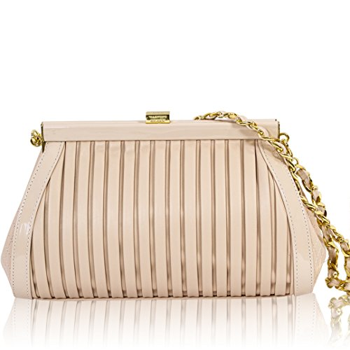 Valentino Orlandi Itaian Designer Nude Plisse Textured Leather Clutch Bag W/chain