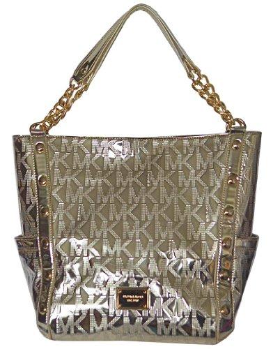 Michael Kors Pale Gold MK Mirror Metallic Signature Delancy Large Shoulder Bag Tote Handbag Purse