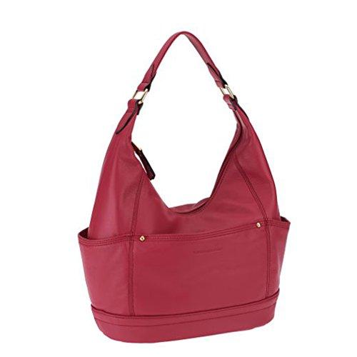 Tignanello Leather Pretty Pockets Hobo – Raspberry